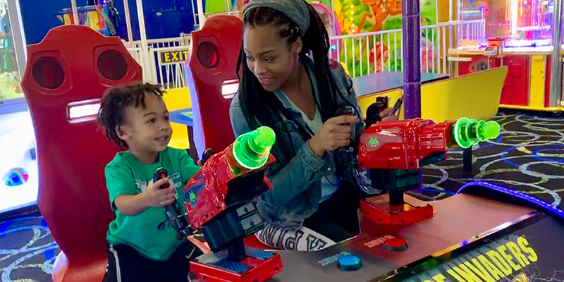 Play big kid games with mom at Bonkers