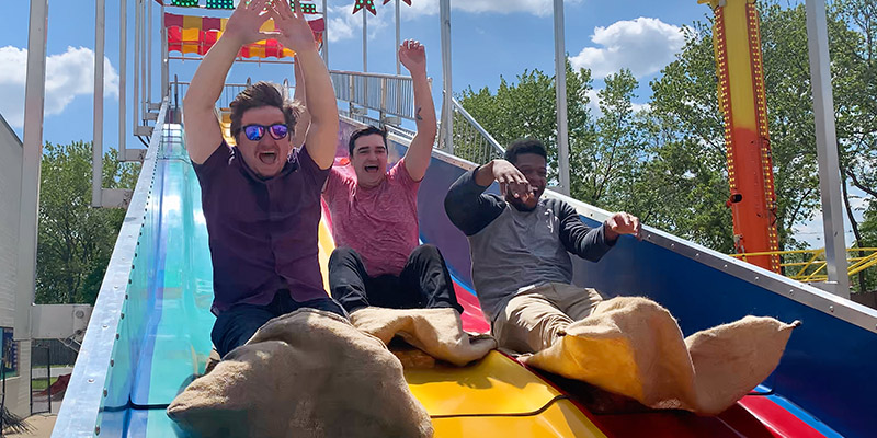 Race your friends down our epic outdoor slide