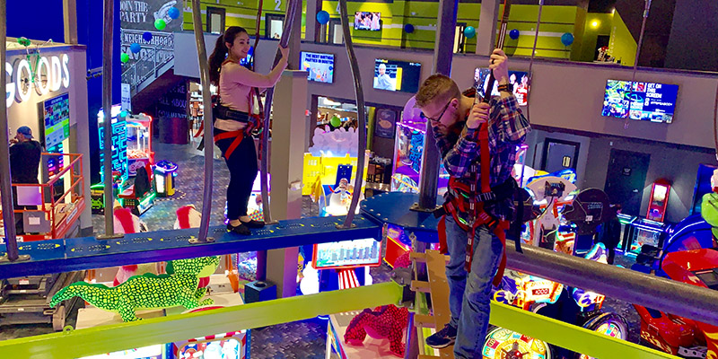 Take your challenges to new heights on our multi level Ropes Course